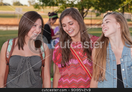 Three Happy Female Students stock photo, Group of three cute teenage students laughing and talking by Scott Griessel