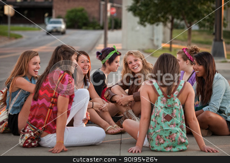 Female Students Sitting on the Ground stock photo, Mixed group of 8 female students sitting on the ground by Scott Griessel