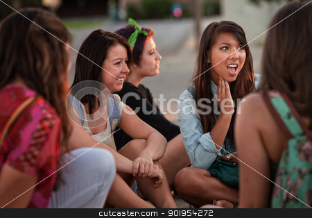 Disgusted Young Woman with Friends stock photo, Disgusted teenage girl sitting on the ground talking with friends by Scott Griessel