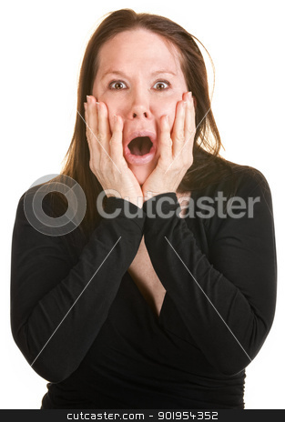 Terrified Woman in Black stock photo, Scared European woman with hands on face over white background by Scott Griessel