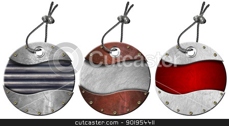 Set of Grunge Circular Metal Tags - 3 items stock photo, Three circular empty grunge metallic tags with steel cable and metal rivets   by catalby