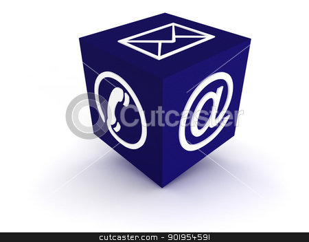 Communication Channel blue stock photo, Cube symbol for communication channels by Juergen Priewe