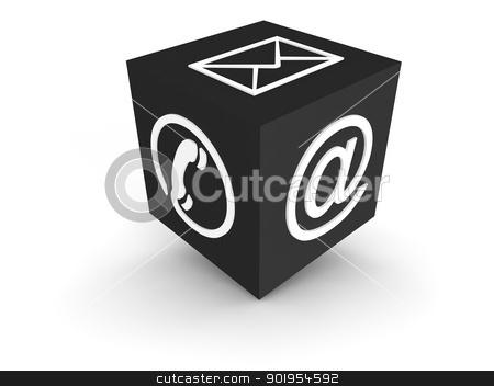 Communication Channel grey stock photo, Cube symbol for communication channels by Juergen Priewe