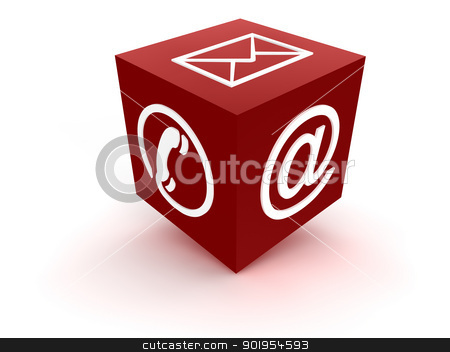 Communication Channel red stock photo, Cube symbol for communication channels by Juergen Priewe