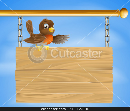 Robin sitting on old sign stock vector clipart, A Robin bird sitting on an old wooden sign, like a traditional pub sign by Christos Georghiou