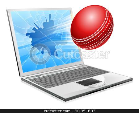 Cricket laptop broken screen concept stock vector clipart, Illustration of a cricket ball flying out of a broken laptop computer screen by Christos Georghiou