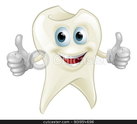 Smiling tooth mascot stock vector clipart, Illustration of a smiling tooth mascot character doing a double thumbs up  by Christos Georghiou