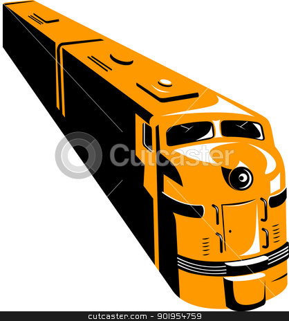 Diesel Train High Angle Retro stock vector clipart, Illustration of a diesel train viewed from a high angle done in retro style on isolated white background. by patrimonio