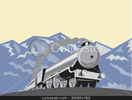 Steam Train Locomotive Mountains Retro stock vector clipart, Illustration of a steam train locomotive viewed from a low angle done in retro style with mountains in the background. by patrimonio