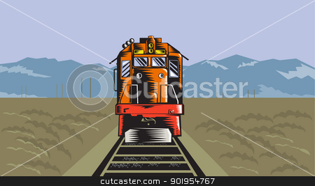 Diesel Train Front Rear Woodcut Retro stock vector clipart, Illustration of a diesel train viewed from a high angle done in retro style with field and mountains in the background. by patrimonio