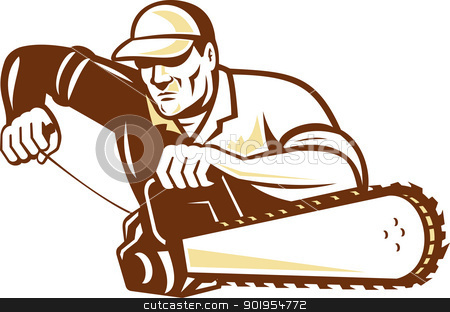 Lumberjack Tree Surgeon Arborist Chainsaw stock vector clipart, Illustration of lumberjack arborist tree surgeon holding a chainsaw starting motor on isolated white background. by patrimonio