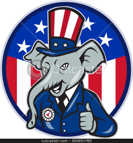 Republican Elephant Mascot Thumbs Up USA Flag stock vector clipart, Illustration of a republican elephant mascot of the republican grand old party gop wearing hat and suit thumbs up set inside American stars and stripes flag circle done in cartoon style. by patrimonio