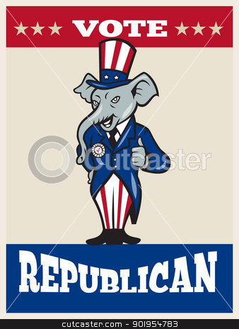 Republican Elephant Mascot Thumbs Up USA Flag stock vector clipart, Illustration of a republican elephant mascot of the republican party wearing hat and suit thumbs done in cartoon style with words vote republican by patrimonio