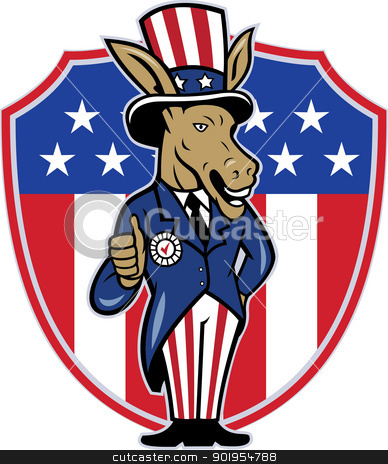 Democrat Donkey Mascot Thumbs Up Flag stock vector clipart, Illustration of a democrat donkey mascot of the democratic grand old party gop wearing hat and suit thumbs up set inside American stars and stripes flag shield done in cartoon style. by patrimonio