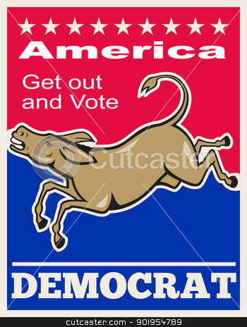 Democrat Donkey Mascot America Vote stock vector clipart, Poster illustration of a democrat donkey mascot of the democratic party jumping done in cartoon style with words