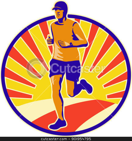Marathon Runner Athlete Running stock vector clipart, Illustration of marathon triathlete runner running done in retro style. by patrimonio