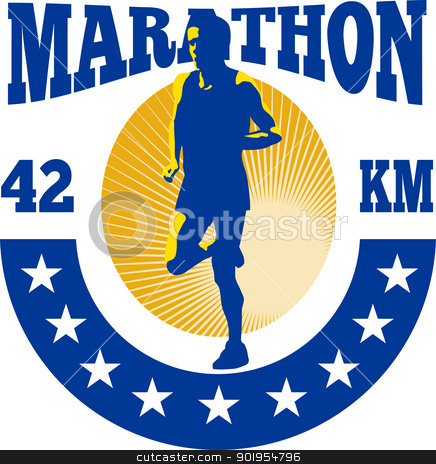 Marathon Runner Athlete Running stock vector clipart, Illustration of marathon triathlete runner running done in retro style with words marathon 42 km. by patrimonio