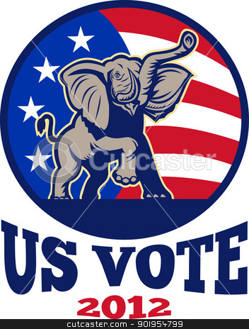 Republican Elephant Mascot USA Flag stock vector clipart, Illustration of a republican elephant mascot with American USA stars and stripes flag done in retro style with words us vote 2012 by patrimonio