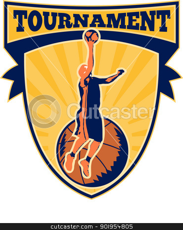 Basketball Player Lay-up Ball Shield stock vector clipart, Illustration of a basketball player lay-up dunking ball with shield scroll and words tournament. by patrimonio