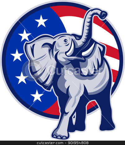 Republican Elephant Mascot USA Flag stock vector clipart, Illustration of a republican elephant mascot with American USA stars and stripes flag circle done in retro style. by patrimonio