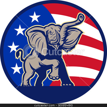 Republican Elephant Mascot USA Flag stock vector clipart, Illustration of a republican elephant mascot with American USA stars and stripes flag done in retro style. by patrimonio