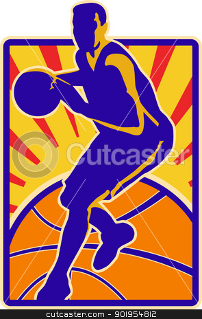 Basketball Player Dribbling Ball Retro stock vector clipart, Illustration of a basketball player dribbling ball set inside rectangle with sunburst on isolated white background. by patrimonio