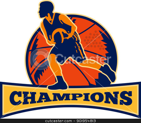 Basketball Player Dribbling Ball Champions Retro stock vector clipart, Illustration of a basketball player dribbling ball on isolated white background and words champions. by patrimonio