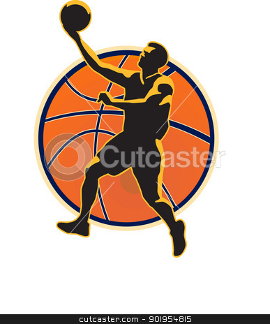 Basketball Player Lay Up Ball stock vector clipart, Illustration of a basketball player lay up dunking ball on isolated white background. by patrimonio