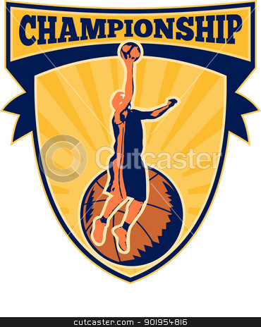 basketball player stock vector clipart, Illustration of a basketball player lay-up dunking ball with shield scroll and words championship. by patrimonio