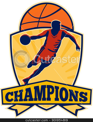 Basketball Player Dribbling Ball Shield Retro stock vector clipart, Illustration of a basketball player dribbling ball with ball and shield and words champions on isolated white background. by patrimonio