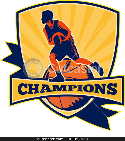 Basketball Player Dribbling Ball Retro stock vector clipart, Illustration of a basketball player dribbling ball with shield and ball retro style and words champions. by patrimonio