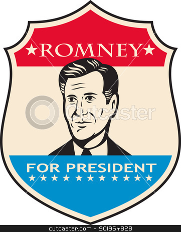 Mitt Romney For American President Shield stock vector clipart, Illustration of American Mitt Romney for president presidential candidate of the United States of America done in retro style. by patrimonio