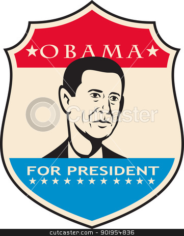Obama For American President Shield stock vector clipart, Illustration of American President Barack Obama of United States of America presidential candidate done in retro style. by patrimonio