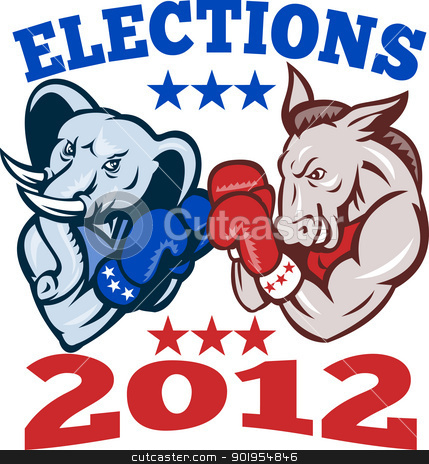 Democrat Donkey Republican Elephant Mascot 2012 stock vector clipart, Illustration of a democrat donkey mascot of the democratic grand old party gop and republican elephant boxer boxing with gloves set inside circle done in retro style with words elections 2012 by patrimonio