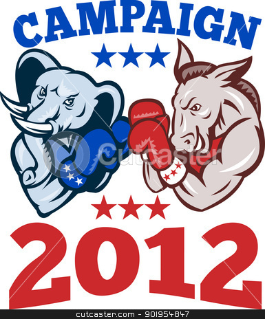 Democrat Donkey Republican Elephant Campaign 2012 stock vector clipart, Illustration of a democrat donkey mascot of the democratic grand old party gop and republican elephant boxer boxing with gloves set inside circle done in retro style with words campaign 2012 by patrimonio