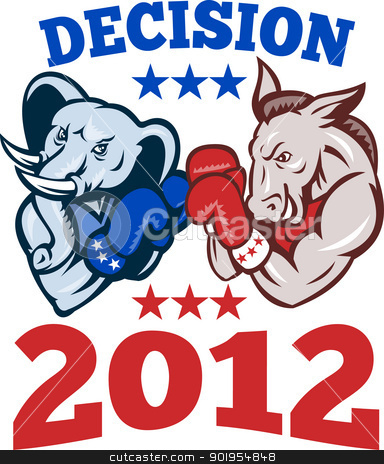 Democrat Donkey Republican Elephant Decision 2012 stock vector clipart, Illustration of a democrat donkey mascot of the democratic grand old party gop and republican elephant boxer boxing with gloves set inside circle done in retro style with words decision 2012 by patrimonio