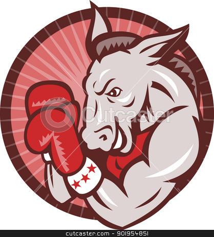 Democrat Donkey Mascot Boxer Boxing Retro stock vector clipart, Illustration of a democrat donkey mascot boxer boxing with gloves set inside circle done in retro style. by patrimonio