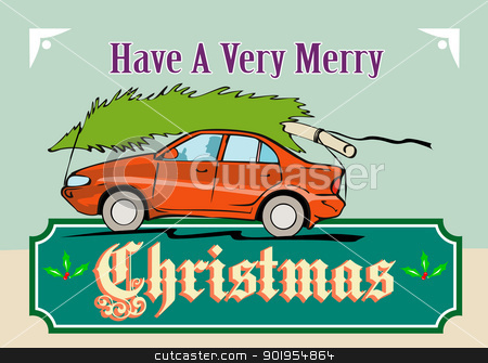 Merry Christmas Tree Car Automobile stock vector clipart, Greeting card poster illustration showing a christmas tree on top of vintage station wagon automobile with gifts presents in the car boot and words