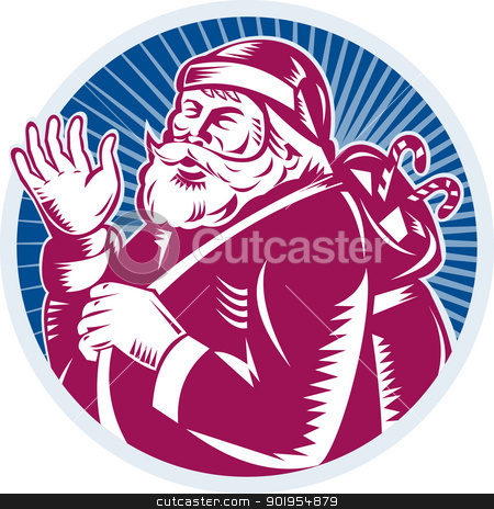 Santa Claus Father Christmas Retro stock vector clipart, Retro style illustration of santa claus saint nicholas father christmas waving set inside circle done in woodcut on isolated white background. by patrimonio
