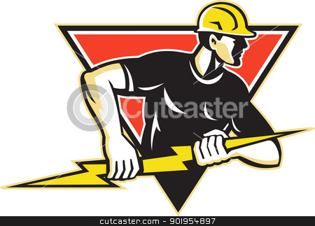 Electrician Lightning Bolt Retro stock vector clipart, Illustration of an electrician construction worker holding a lightning bolt set inside triangle done in retro style in isolated white background. by patrimonio