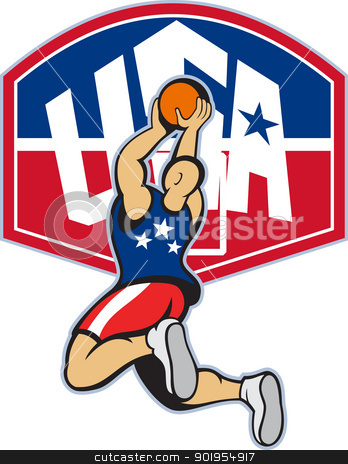 Basketball Player Shooting Jumping Ball stock vector clipart, Illustration of a basketball player shooting jumping ball with backboard and words USA on isolated white background. by patrimonio
