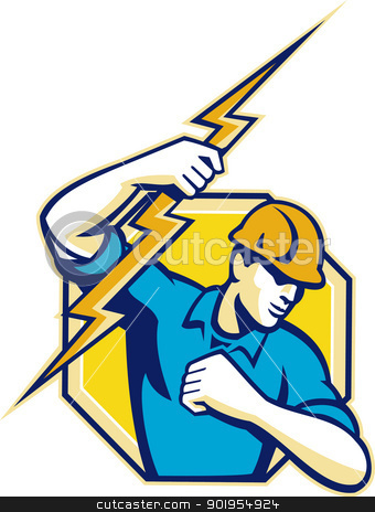 Electrician Construction Worker Retro stock vector clipart, Illustration of an electrician construction worker holding a lightning bolt set inside hexagon done in retro style in isolated white background. by patrimonio