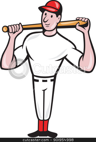 American Baseball Player Batting Cartoon stock vector clipart, Illustration of a american baseball player batting bat on shoulder cartoon style isolated on white background. by patrimonio