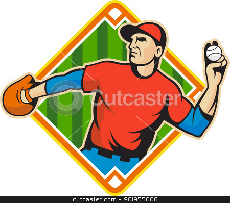 Baseball Player Pitcher Throwing Ball stock vector clipart, Illustration of a american baseball player outfielder throwing ball isolated on white background set inside diamond field shape. by patrimonio