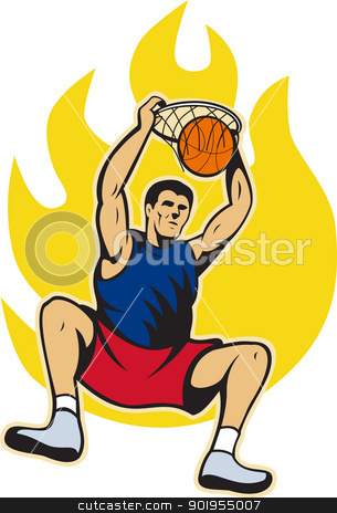 Basketball Player Dunking Ball stock vector clipart, Illustration of a basketball player dunking ball with fire fireball on isolated white background. by patrimonio