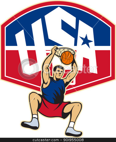Basketball Player Dunking Ball USA stock vector clipart, Illustration of a basketball player dunking ball hanging on hoop with backboard and words USA on isolated white background. by patrimonio