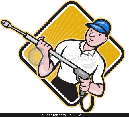 Power Washing Pressure Water Blaster Worker stock vector clipart, Illustration of a worker with water blaster pressure power washing sprayer spraying set inside circle done in cartoon style.   by patrimonio