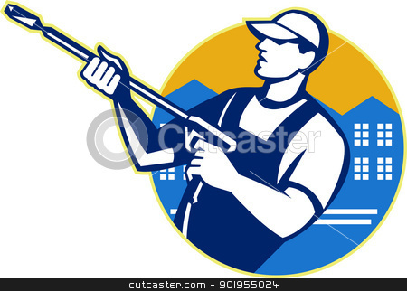 Power Washing Pressure Water Blaster Worker stock vector clipart, Illustration of a worker with water blaster pressure power washing sprayer spraying set inside circle done in retro style. by patrimonio