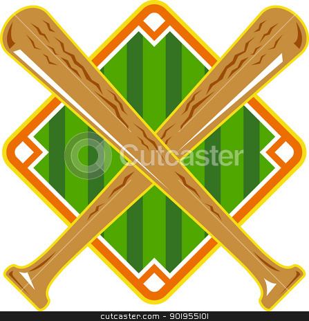 Baseball Diamond Crossed Bat Retro stock vector clipart, Illustration of a baseball diamond with crossed bat done in retro style on isolated white background. by patrimonio