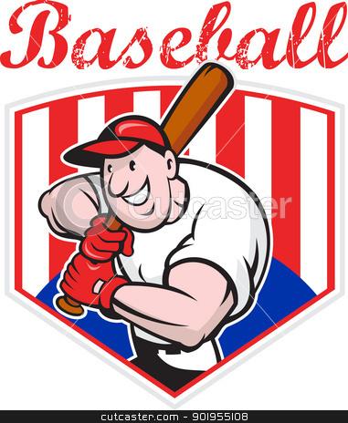 Baseball Player Batting Diamond Cartoon stock vector clipart, Cartoon illustration of a baseball player with bat batting facing front with diamond in background.  by patrimonio